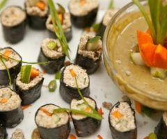 """Sushi without the fish: At Fire Light, the sushi is """"live"""" and made from sunflower seeds, cucumbers, carrots, sweet pepper and avocado. Photograph by Stuart Smellie (Equilibrium Photography)"""