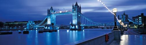 Tower Bridge beautifully lit up at night. Photograph by © London and Partners