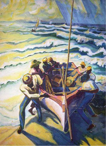 One of Honychurch's paintings Fishing boat returns. Courtesy Lennox Honychurch