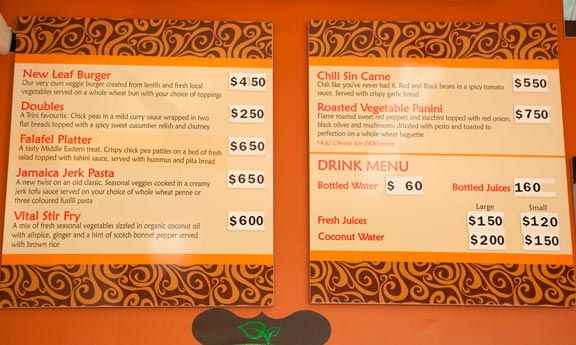 New Leaf Restaurant's all-vegetarian menu. Photograph by Stuart Smellie (Equilibrium Photography)