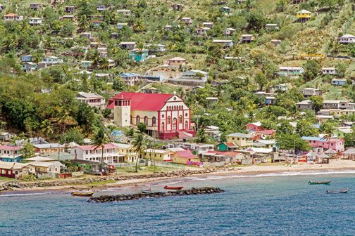 The Roman Catholic church is a landmark in Dennery Village. Photograph by Chris Huxley