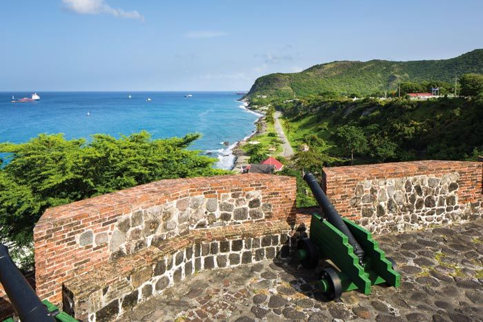 The cannons of Fort Oranje once saluted the ships arriving in Statia's port. Photograph by Wyatt Gallery
