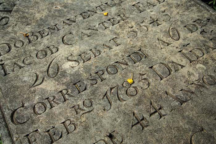 A gravestone in Statia's Jewish cemetary. Photograph by Wyatt Gallery