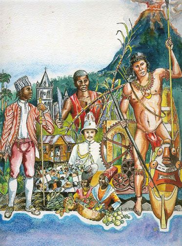 Original painting used for the cover of The Dominica Story. Courtesy Lennox Honychurch