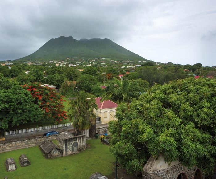 The Quill, a dormant volcano, towers above Statia. Photograph by Wyatt Gallery