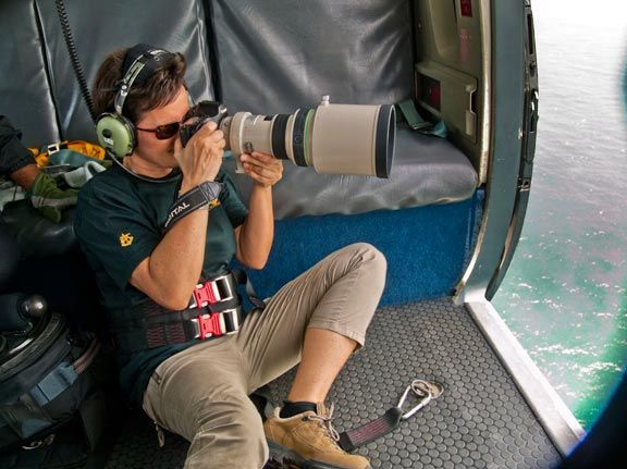 Sylvia Krueger taking location shots. Photograph by Sylvia Kreuger/Oceans Discovery