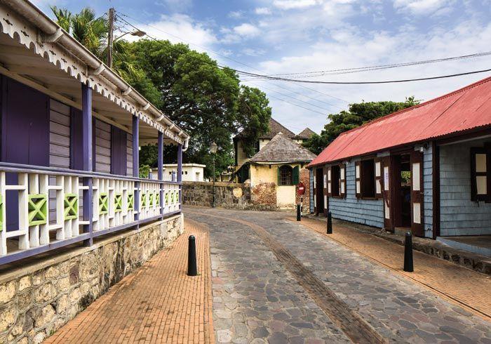A sleepy street in Oranjestad. Photograph by Wyatt Gallery