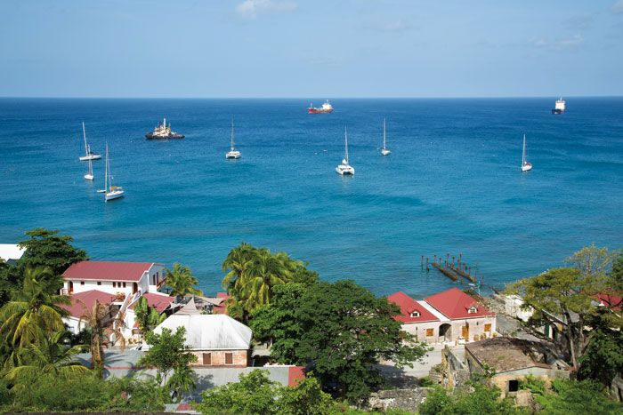 Looking over Oranjestad's Lower Town. Photograph by Wyatt Gallery