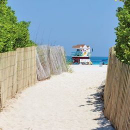 Colourful lifeguard stations dot the white sand along South Beach. Photograph by R.A.R. De Bruijn Holding BV / Shutterstock.com