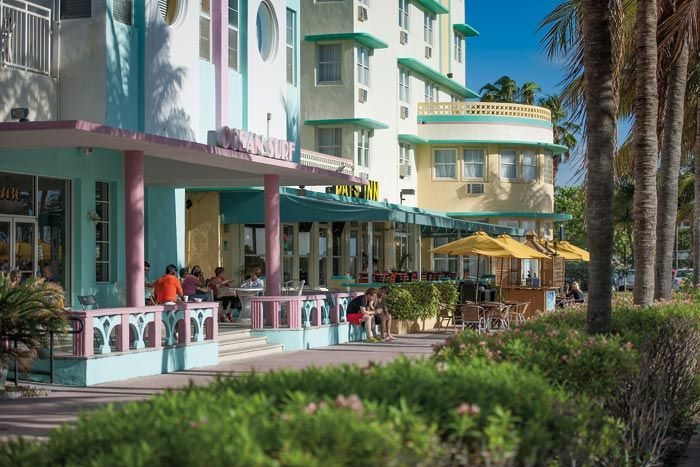 The pastel-hued Art Deco style of Ocean Drive. Photograph provided by Greater Miami Convention & Visitors Bureau www.gmcvb.com