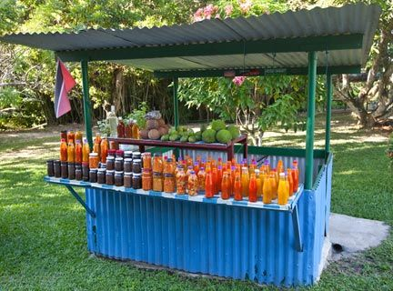 Roadside stall selling all manner of homemade sauces, jams and fruit. Photograph by Chris Anderson