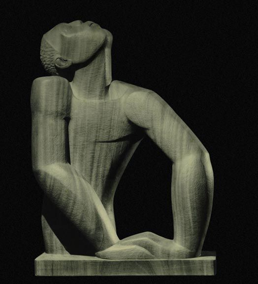 Photograph of Negro Aroused, Manley's iconic 1935 statue,  Silver gelatin print, 24 x 19.6 cm, courtesy: Onyx Collection. Photograph by Denis Gick