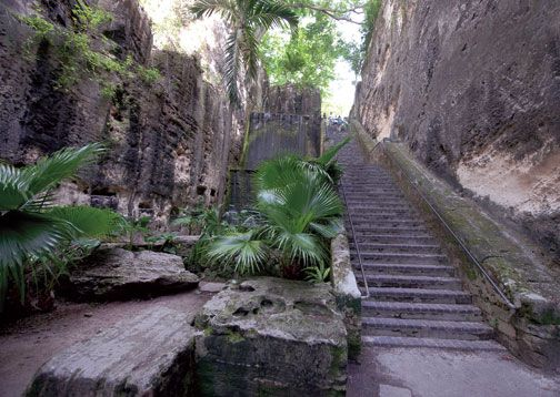 Eighteenth-century Queen's Staircase, a highlight of any Nassau tour. Photograph courtesy the Bahamas Ministry of Tourism