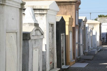 St Louis Cemetery #1, where Marie Laveau's grave is located. Photograph by Jean-Pual Gisclair and Neworleansonline.com