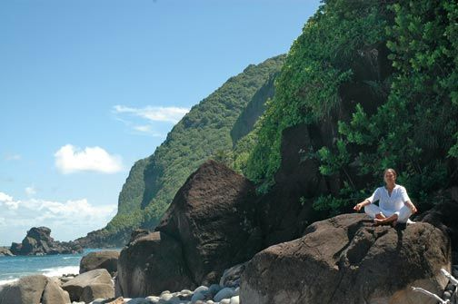 Practising yoga outdoors in Dominica. Photograph courtesy Jungle Bay Resort, Dominica