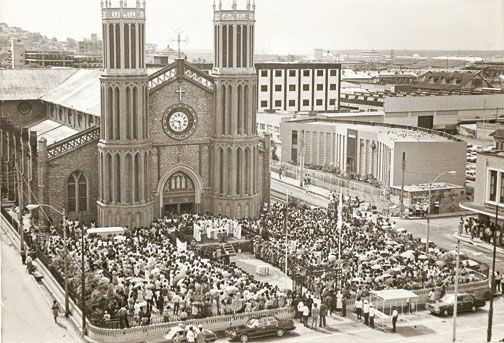 Corpus Christi celebrations at the cathedral circa 1970. Photograph courtesy the Cathedral archives