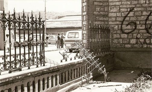 A damaged wrought-iron fence at the front of the cathedral. Photograph courtesy the Cathedral archives