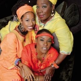 Three generations of Marley women; Rita Marley, Donisha and her mother Sharon. Photograph by Michael Chambers