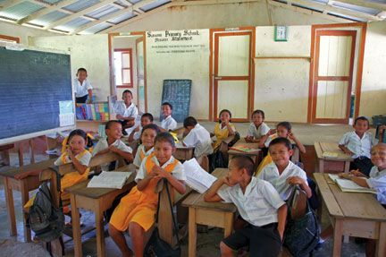Children at the Surama Primary School on break. Photograph by Terry Kuet