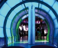 The entry and exit tunnel to Space La Nouba Nightclub. The colours on the walls change as you enter. Photograph courtesy Ronald Tiah