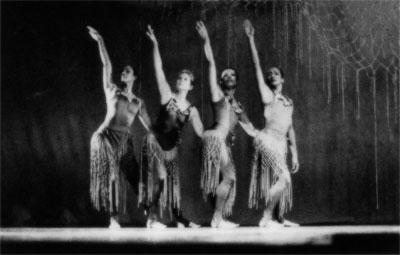 Arlene Richards, Melanie Graham, Alaine Grant, and Carole Orane Andrade performing Spirits at a Gathering, chor. Rex Nettleford; National Dance Theatre Company, 1998