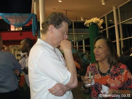 Jeremy Taylor with MEP Chairman Susan Dore at Queen's Hall at the Caribbean Beat/Caribbean Airlines event