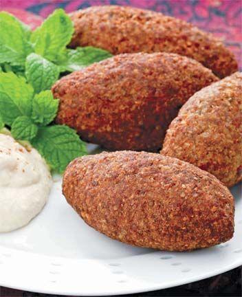 Fried kibbi (kibbi mikliye). Photograph by Abigail Hadeed