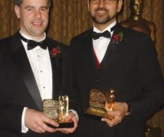 Dr Bill Collis, head of research and development, The Foundry, left, and Trinidadian Dr Anil Kokaram show off their Oscars. Photograph courtesy Dr Anil Kokaram