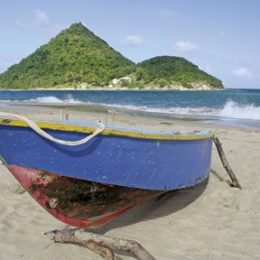 Levera Beach is overlooked by Sugar Loaf island. Photograph by Dexter Lewis