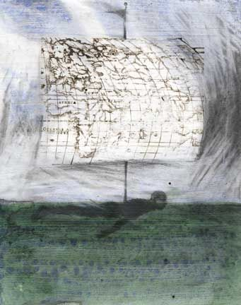 Christopher Cozier: The Castaway, mixed media on paper. Photograph courtesy Christopher Cozier