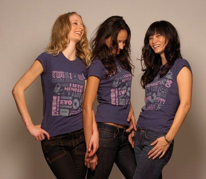 Models at Colin Williams` Studio in NYC, at an Earthmember4life photo shoot. They are wearing cotton cap-sleeved tees. Photograph courtesy Earthmember4life