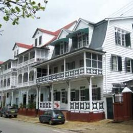 Dutch colonial architecture on Paramaribo`s historic Waterkant (waterfront). Photograph by James Fuller