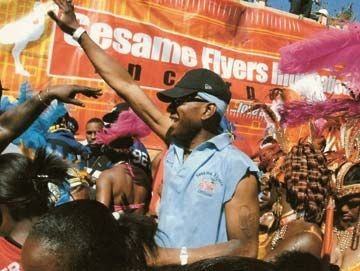 Curtis Nelson and the Sesame Flyers band on New York`s Eastern Parkway, Labour Day 2004. Photograph courtesy Curtis Nelson