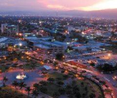 Aerial view of Emancipation Park at dusk. Photograph by Varun Baker