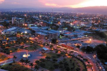 Aerial view of Emancipation Park at dusk. Photograph by Varun Baker