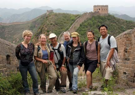 A group of explorers at the Great Wall of China. Photograph courtesy GAP Adventures