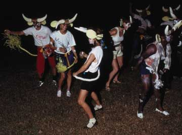 Toronto Islanders, with Trini friends, form a Cow Band for J`Ouvert, Carnival 1987. Photograph by Gera Dillon