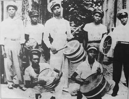 An early steelband of the 1940s. Photograph courtesy Kim Johnson