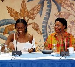 15-year old Antiguan writer Akilah A. Jardine reads from her debut novel Living Life the Way I Know It. Photograph courtesy Ann Granger