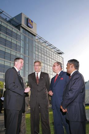 RBC and RBTT executives in front of their new Caribbean headquarters in Port of Spain, Trinidad. Photograph courtesy RBTT Financial Group