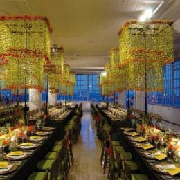 Green dendrobium orchids and orange Chinese lanterns. Photograph courtesy Preston Bailey Entertainment and Set Designs/John Labbe