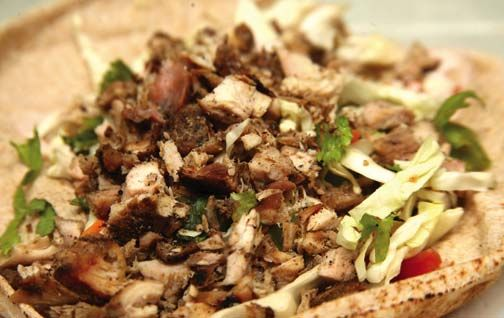 A chicken gyro before it is wrapped. Photograph by Andrea De Silva. All dishes prepared by Lawrence of Arabia, Trinidad