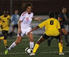 Canadian forward Nour Ghoneim evades a defender at the 2010 CONCACAF Women`s Under-17 Championship. Photograph courtesy CONCACAF.COM