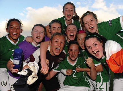 Republic of Ireland players celebrate their victory over Germany at the UEFA women's U17 championship semifinals, in Switzerland. Photograph courtesy Stephen McCarthy/Sportsfile