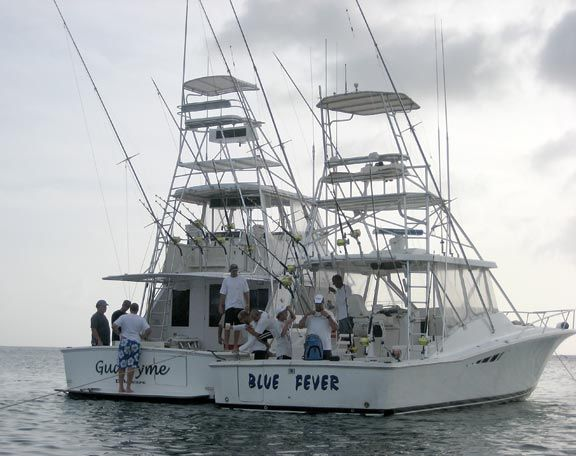 The Gud Tyme and Blue Fever relax after a long day on the ocean. Photograph by James Fuller