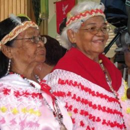Assing's great-aunts, Elsa (left) and Valentina (the Carib Queen) at the Santa Rosa Festival. Photograph by Tracy Assing