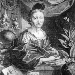 Engraving after a portrait of Maria Sibylla Merian by her son-in-law, Georg Gsell. Photograph courtesy History of Science Collections, University of Oklahoma Libraries