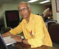 Shamsu Deen doing genealogy research at the National Archives, Trinidad. Photograph courtesy Shamshu Deen