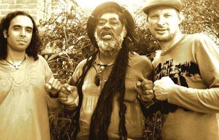 Idris Rahman (sax/writer/producer), Johnny Clarke (vocals) and Robin Hopcraft (trumpet/writer/producer) outside their studio. Photograph courtesy Soothsayers