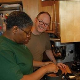 Dan and Franka prepping the chocolate cassava cake. Photograph by Franka Philip